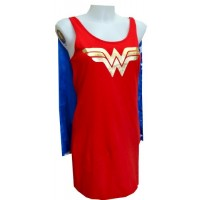 Wonder Woman Tank Style Night Shirt with Cape