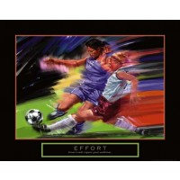 Effort Soccer Girls Motivational Poster Print
