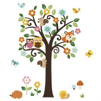 Forest Animals & Flowers Tree Decals